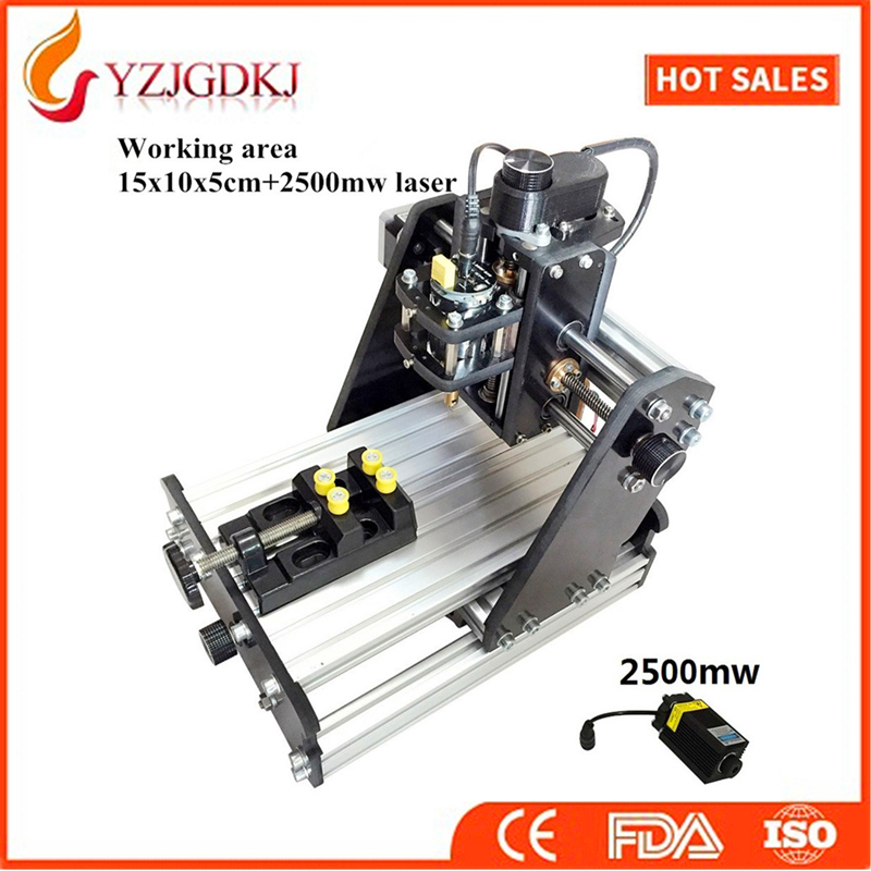 CNC 1510+2500mw laser GRBL control Diy high power laser engraving CNC machine,3 Axis pcb Milling machine,Wood Router+2.5w laser