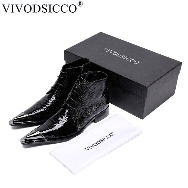 VIVODSICCO NIEUWE Stijl Top kwaliteit Designer Black Snake Skin Mannen Schoenen Luxe Chelsea Mens Westerse Motorlaarzen Jurk Schoenen