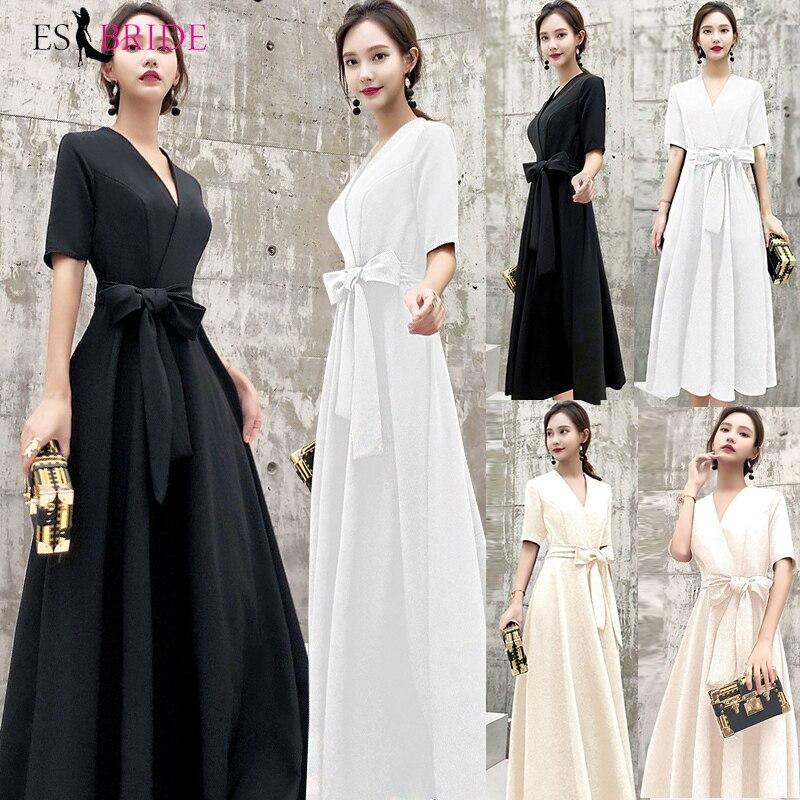 Black Casual   Evening     Dresses   Long Formal Elegant A-Line Plus Size Lace Appliques Wedding Guest   Dress   Party Gown Vestidos ES1205