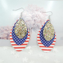 2019 Bohemia Teardrop Leather Earrings For Women Three Layer Glitter Stripe PU Fashion Jewelry Gifts Wholesale