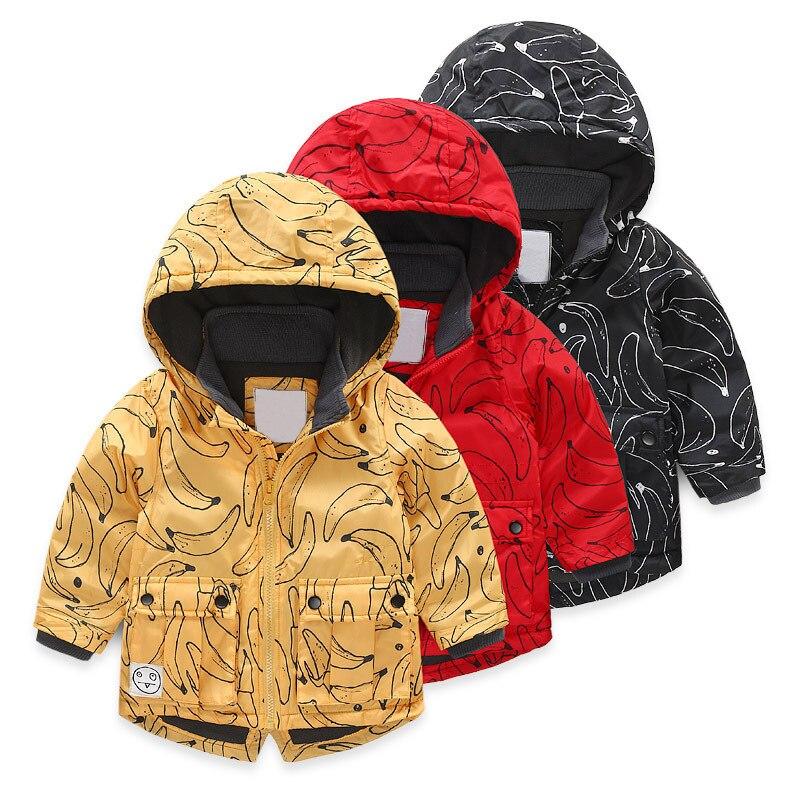 Bébé garçons filles à capuche veste Cartoon banane imprimé manteau hiver enfants coupe-vent Plus épaissir polaire velours vêtements d'extérieur