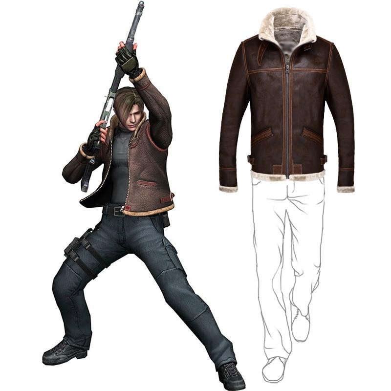 Biohazard Resident 4 Leon S Kennedy Evil Costume Leather Coat Jacket Cosplay PU Faur Jacket Long sleeve Winter Outerwear Men Boy