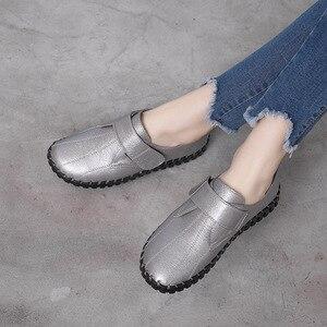 Image 4 - GKTINOO printemps dames en cuir véritable à la main chaussures femmes crochet & boucle chaussures plates femmes 2020 automne doux mocassins chaussures plates