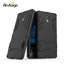 Fintorp For Nokia 3 Case Armor Fitted Kickstand 2 Cover Coque Nokia3 Etui Hybrid Phone Housing Black Funda Shell Hood