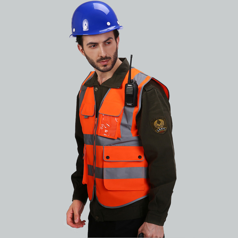 Orange Safety vests reflective with logo printing security waistcoats New arrival