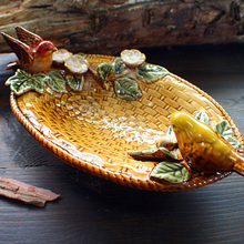 yellow ceramic bird soap dish Fruit candy bathroom accessories set kit wedding home decor handicraft porcelain figurine