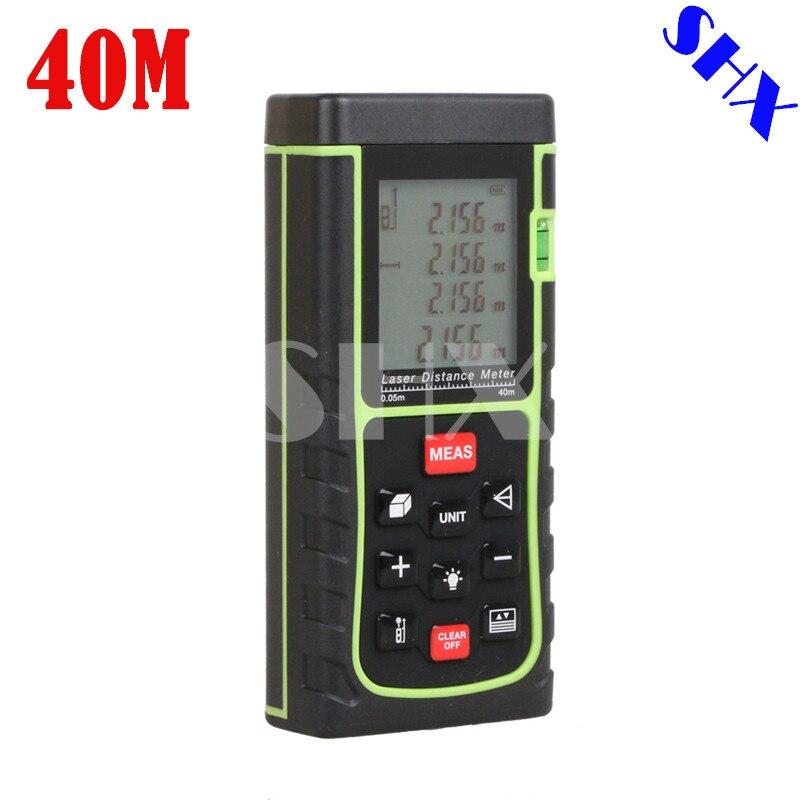 Numérique Laser mètre de distance Plus Grand outil de niveau À Bulle Télémètre Range finder mesure de Bande 40 m Zone/Volume Testeur Angle