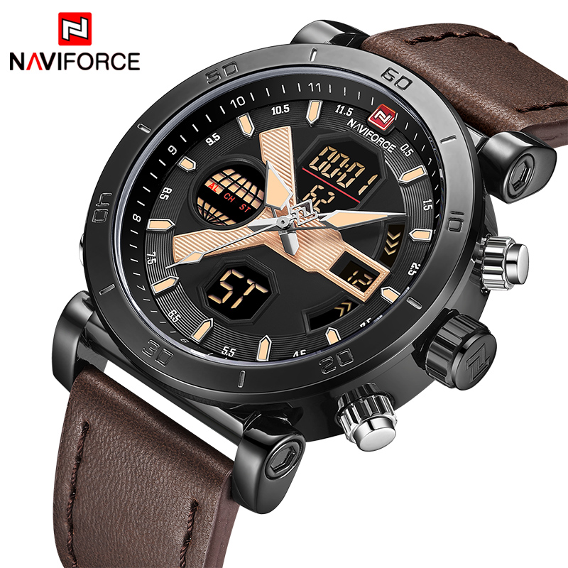 2018 TOP Luxury Brand Men's Sport Watches NAVIFORCE Men Fashion Quartz Digital Clock Man Leather Military Waterproof Wrist Watch(China)