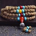 JoursNeige Tibetan KingKong Bodhi Beads 108 Rosary 7mm Round Blue Agate Bracelets Rudraksha Bodhi Seeds Buddha Prayer Japa Mala