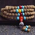 JoursNeige Tibetana KingKong Bodhi Perlas de 108 Pulseras Rosario 7mm Ronda Ágata Azul Semillas de Rudraksha Bodhi Buda Oración Mala Japa