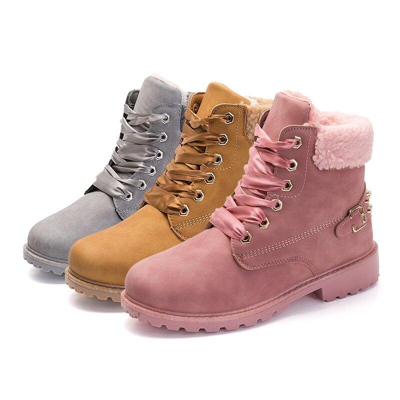 Ocasional rosado Nueva Del Gris Sólido Pink Zapatos Estilo Tobillo Lace Británico Redondo Mujeres Up Botas Caliente Nieve Invierno Martin Pie Dedo amarillo w0rRqp0xv