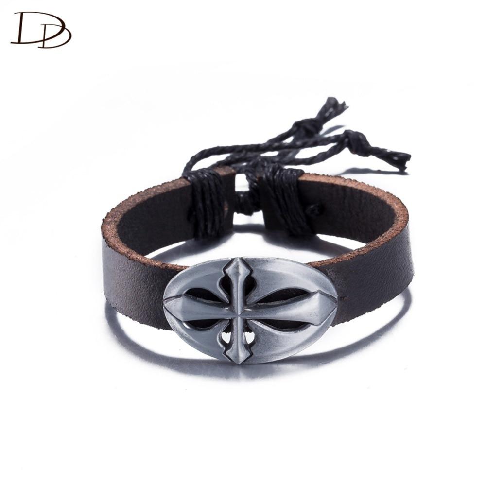 215cade473b82f Gros particulier croix conception en cuir bracelet pour femmes hommes noir  couleur pulera réglable taille de mode bijoux cadeau DFSH037