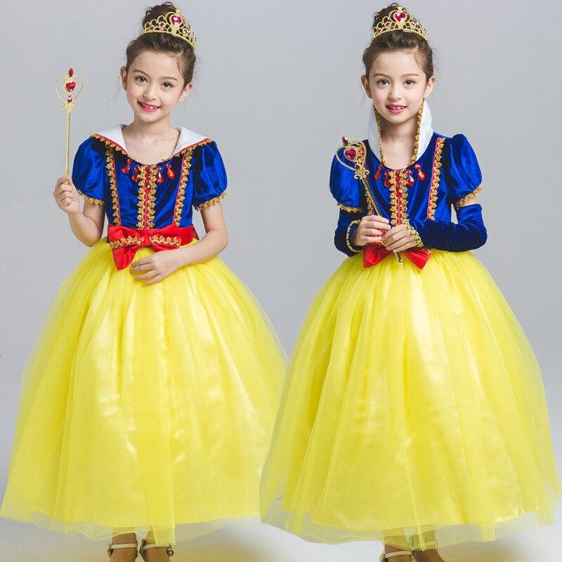S9058  children girls  Clothes Evening Dress Children's short sleeved Girl Dresses Snow White Dress