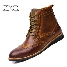 Genuine Leather Men Boots Vintage Style High-Cut Lace-Up Shoes Men Fashion Casual Brogue Ankle Boots Shoes цены онлайн