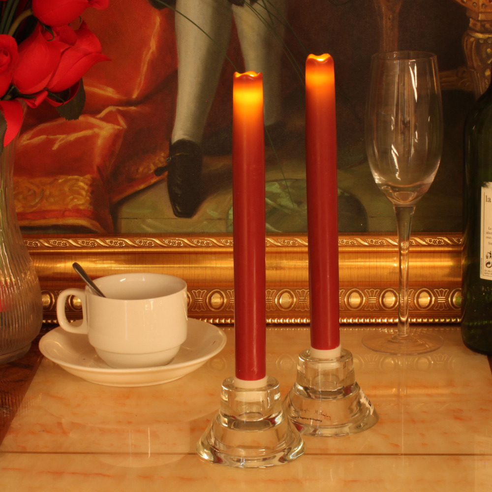 Home Impressions 2pcs LED Taper Candle Battery Operated Smooth Flameless Wax Led Candle Lights with Timer Red 9 Inch