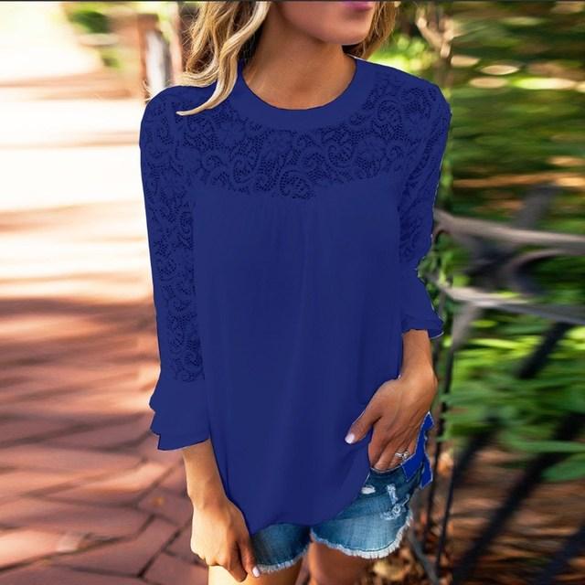 2018 ZANZEA Summer Women Blouse Elegant Lace Shirt O Neck Long Sleeve Patchwork Solid Beach Party Chiffon Shirt Loose Blusas