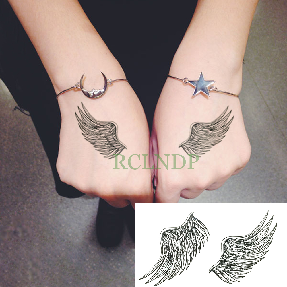 Waterproof Temporary Tattoo Stickers Feather Wings Fake Tatto Flash Tatoo Tatouage Hand Back Foot For Girl Women Men