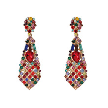 Trendy big crystal earrings for women Colorful long metal Drop statement red geometric Starburst Jewelry
