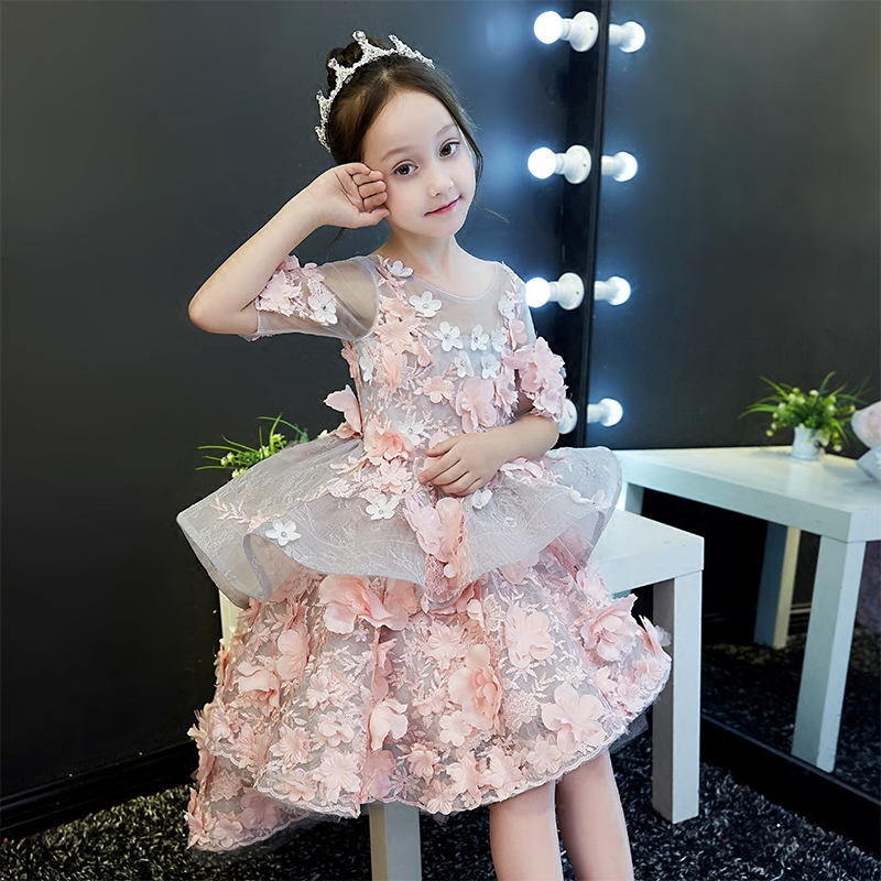 2018 Spring New Children Girls Elegant Fashion Pink Color Flowers Princess Dress For Birthday Wedding Party Baby Ball Gown Dress 2018 spring new children girls elegant fashion pink color flowers princess dress for birthday wedding party baby ball gown dress
