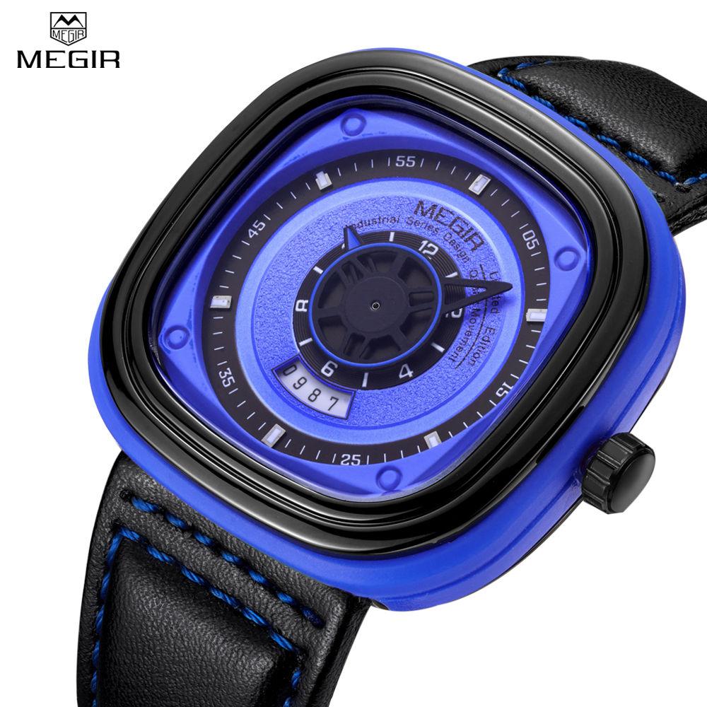 MEGIR Men Waterproof Auto Date Multifunction Casual Watch Unique 3D Engraved Dial Military Sport Hot Sale