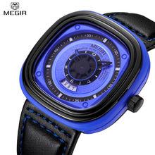 MEGIR Мужчины Водонепроницаемый Авто Дата Многофункциональный Повседневная Часы Уникальный 3D Гравировкой Наберите Военная Спорт Горячие Часы Продажа