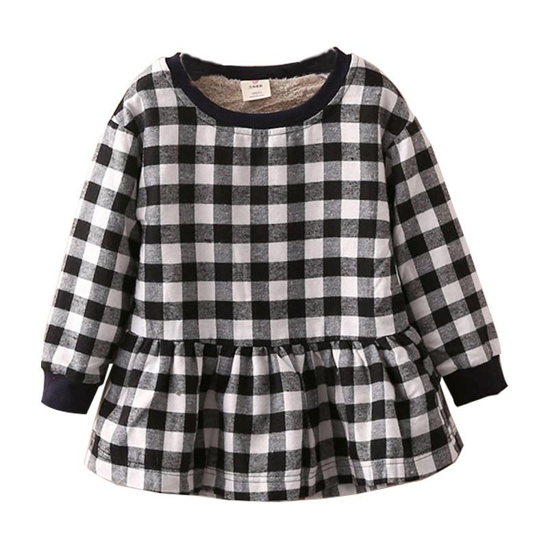 506c0ef72577 2018 Automne Hiver bébé fille Manches Longues Robes À Carreaux 100% Coton  Angleterre Style Plaid Enfants Robe Enfants de Vêtements