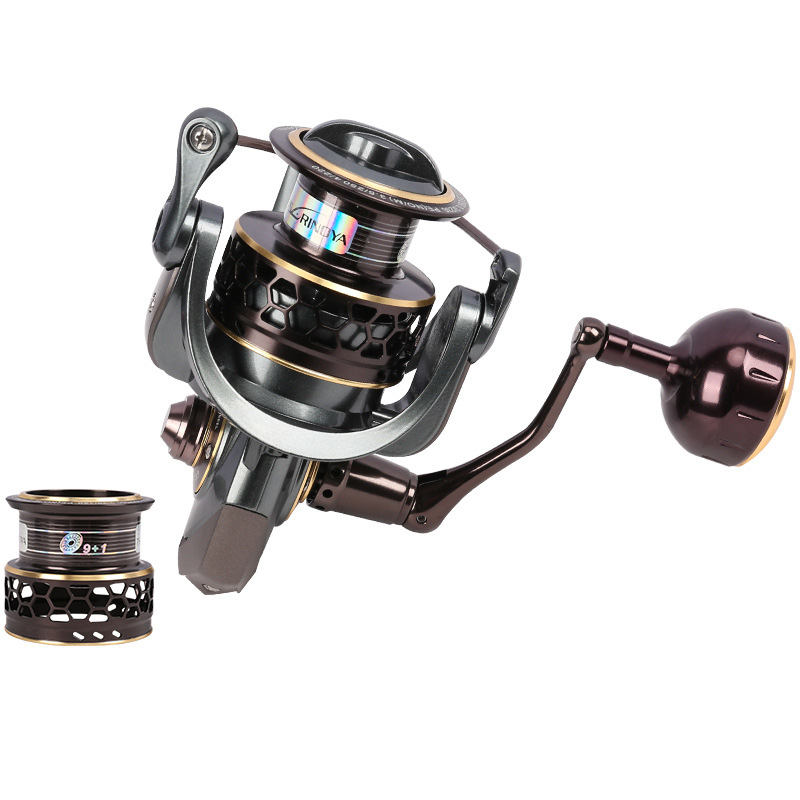 TSURINOYA Jaguar 4000 Spinning Fishing Reel 9+1BB Gear Ratio 5.2:1 Double Metal Handle 2 Spool Reels Coil Lure coonor j12 9 1bb metal spool fishing reel 5 1 1 gear ratio spinning reel full metal spool with double t shape handles