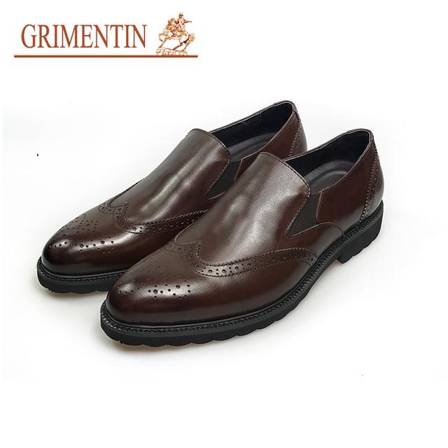 US $105.56 9% OFF GRIMENTIN mode italienische vintage business schuhe männer beleg auf echtem leder formale schuhe in GRIMENTIN mode italienische