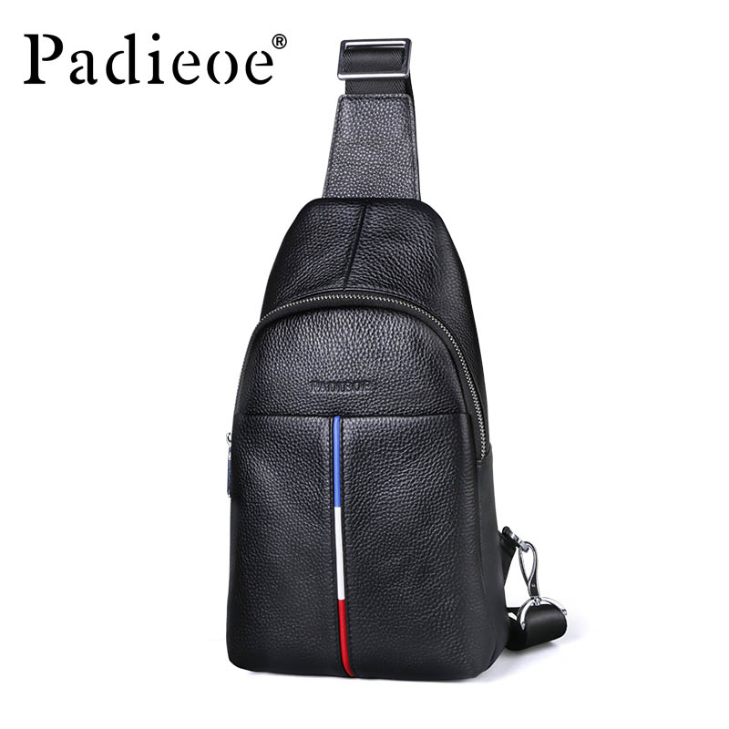Padieoe Men s Genuine Leather Casual Fashion Waist Pack Chest Bags Men fashion Travel Shoulder Messenger