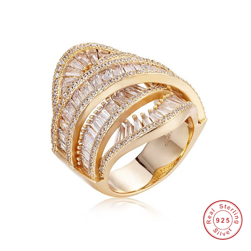 Grande croix étincelante 925 bijoux en argent et en or 14 K bagues de mariage Cocktail pour femmes cadeau luxe T bague en diamant simulé sz 5-10