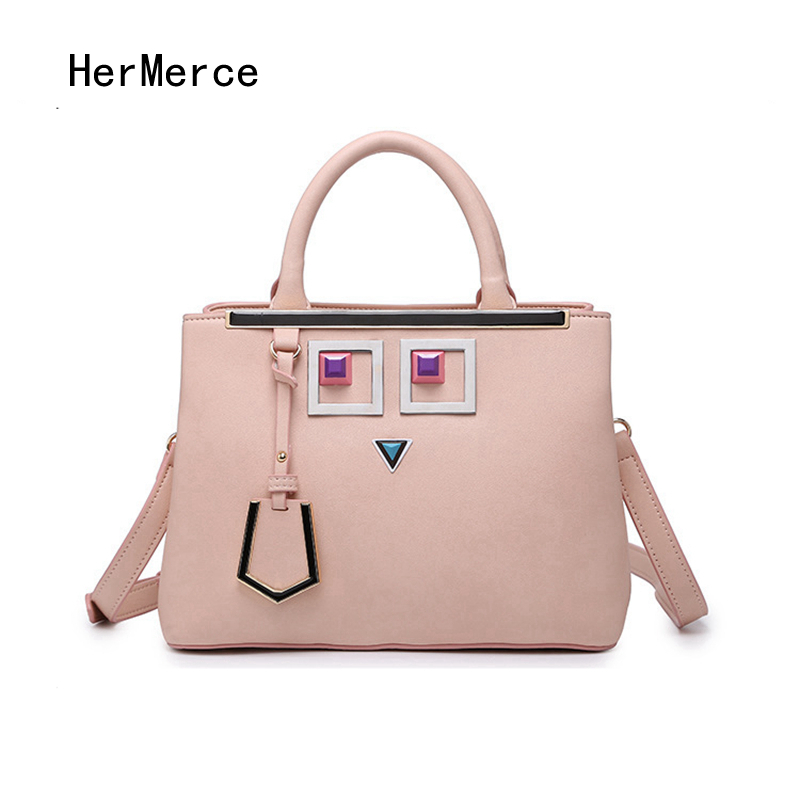 купить HerMerce Fashion European and American Style Women Bag Designer Handbag 2017 Elegant Ladies Rivet Bag Large Capacity Bags дешево