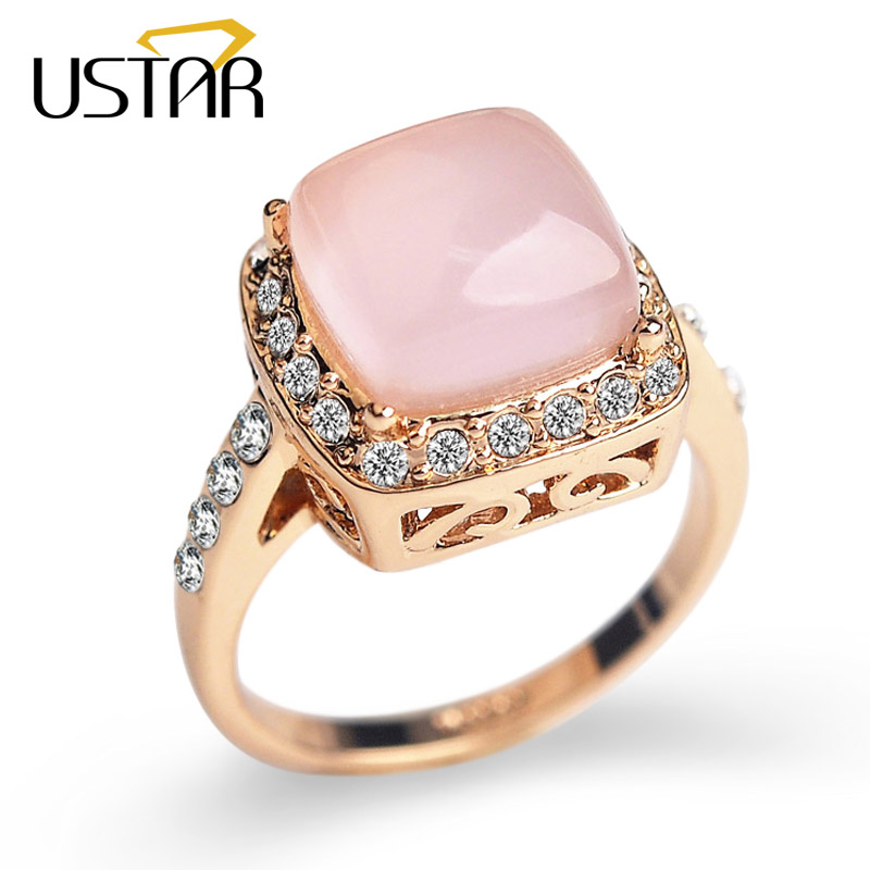 Aliexpresscom buy ustar square semi precious stone for Precious stone wedding rings