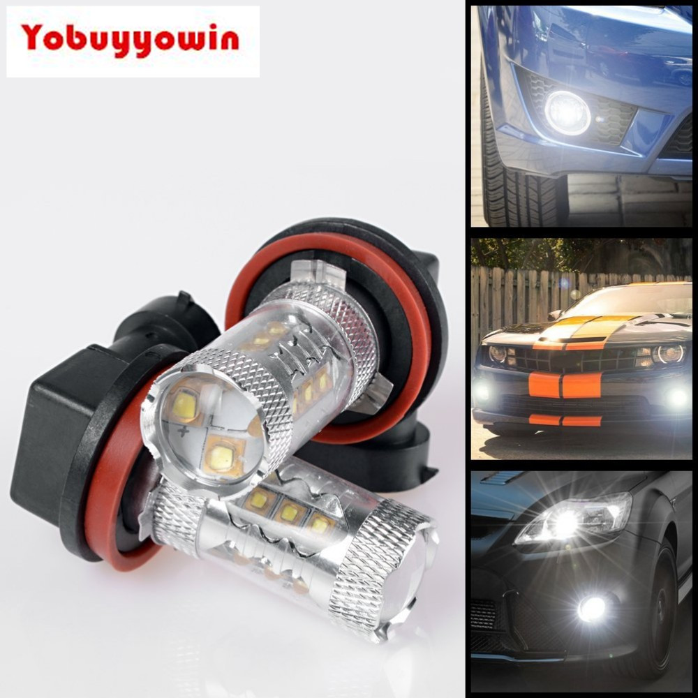 2xHigh Power White DRL Fog Running Light Bulb 80W H8 H11 CREE Chips LED For Jeep Wrangler Cherokee Cadillac CTS Escalade