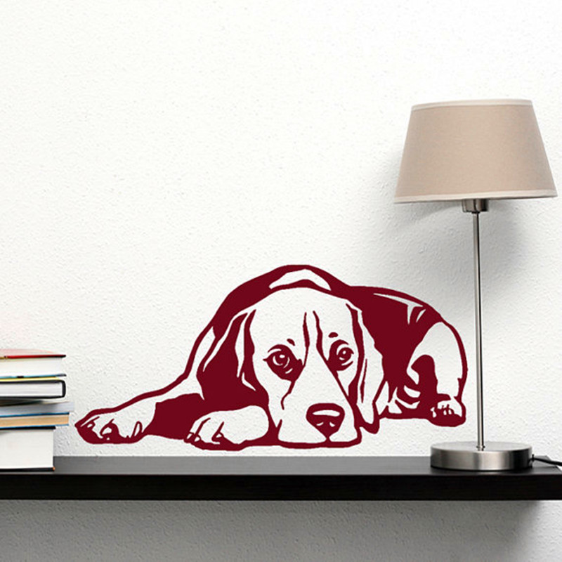 2016 Pet Dog Decal Beagle Recumbent 3D Vinyl Wall Sticker Art Home Decor Living Room Wall Mural Wall Sticker Y-3 image
