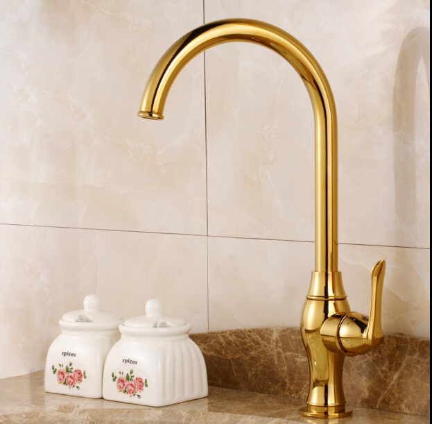 цена на Kitchen faucet Golden Copper cold and hot water tap Sink faucet Vegetable washing basin sink mixer 360 degree rotating faucet