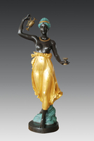 Life size r villa decor young lady bronze statues hebo sculpture for Outdoor ornaments