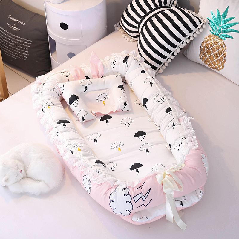 90*55cm Portable Bionic Bed Toddler Cotton Cradle Baby Bassinet Bumper Foldable Sleeper Babynest For Newborn Travel Bed Bumper