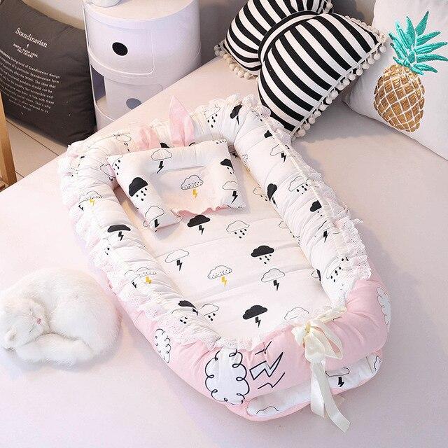 Cama biónica portátil de 90x55 cm, cuna de algodón para niños, cuna de bebé parachoques