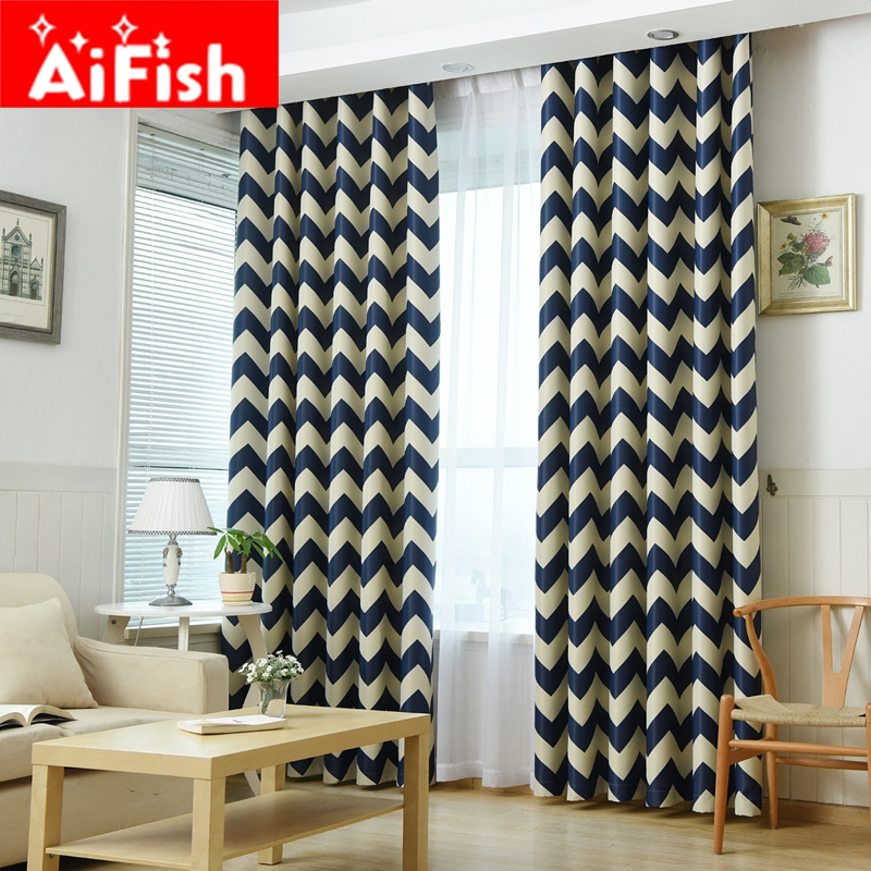 Modern Blue Wavy Grain Curtains For Living Room White All Match Tulle Sky  Blue Semi Shade Bedroom Cloth Orange Blids AP195 40