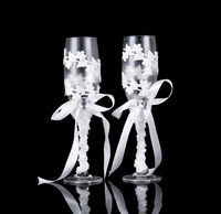 A Pair Of Crystal Champagne Glasses For Wine Whiskey Beer Drink Wedding Glassware Stainless Steel Flute
