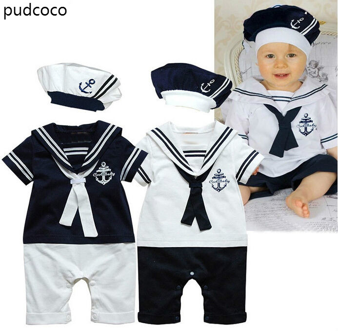 Cotton Short Sleeve Sailor Collar Rompers+Hat Outfits Clothes Set Toddler Newborn Baby Boys Navy Style Patchwork Romper Playsuit