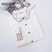 VOGUE N New Womens Ladies Spring Floral Embroidery Peter Pan Collar Long Sleeve Button Down Shirt