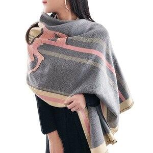 Image 5 - Роскошный брендовый шарф для женщин, модные шарфы и накидки с принтом лошади, толстые теплые кашемировые шарфы, зима 2020, Пашмина, большой шарф