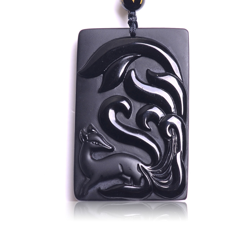 Drop Shipping Natural Stone Pendant Black Nine Taile Fox Lucky Blessing Amulet Pendant -2144