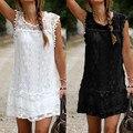 2016 mujeres del vestido del verano del o-cuello ocasional del cordón sin mangas de playa corto vestido de la borla de Solid Mini vestido de encaje Plus Size envío gratis