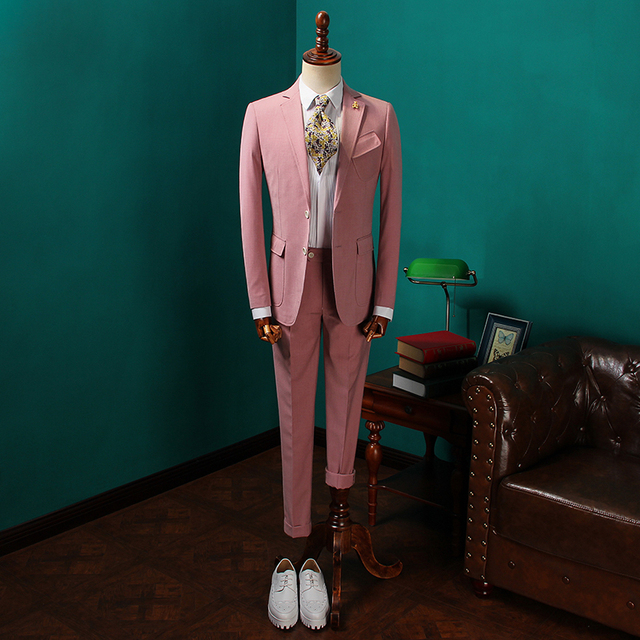 2018New verano rosa de dos piezas traje de lino elegante hombre chaqueta  para la boda novio 4b65b95f932
