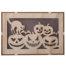 Halloween Decorations 3D Pumpkin Print Wooden Light Harvest Fall Party Decoration isplaying in your living room bed