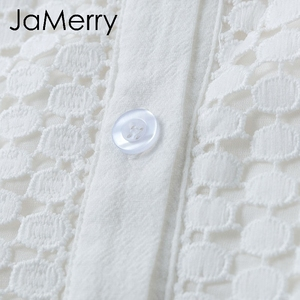 Image 5 - JaMerry Vintage ruffle mini white lace cotton dress Elegant lantern sleeve hollow out highstreet short dress Autumn chic dresses
