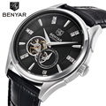 BENYAR Brand Mechanical Watches Men Genuine Leather Automatic Luxury Watch Men Wristwatches Relogio Masculino