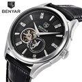 BENYAR Marca Mecánico Automático de Lujo de Relojes de Los Hombres de Cuero Genuino Reloj de Los Hombres Relojes de Pulsera Relogio masculino